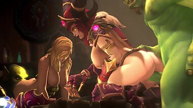 Alexstrasza the Life-Binder and Jaina Proudmoore Group Fucked World of Warcraft 3d Anim Sound