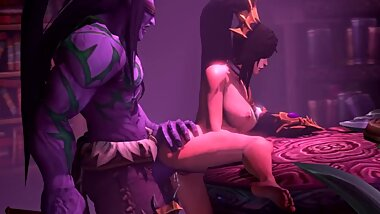 Enchantress Li Ming and Illidan have Hardcore and Passionate Sex in the Library World of Warcraft