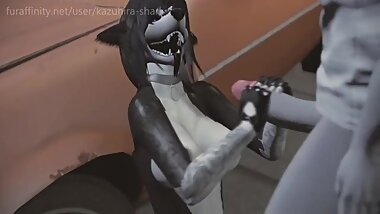 Furry Yiff - Skater Wolf girl gets Humped outside! (3d sl animation)
